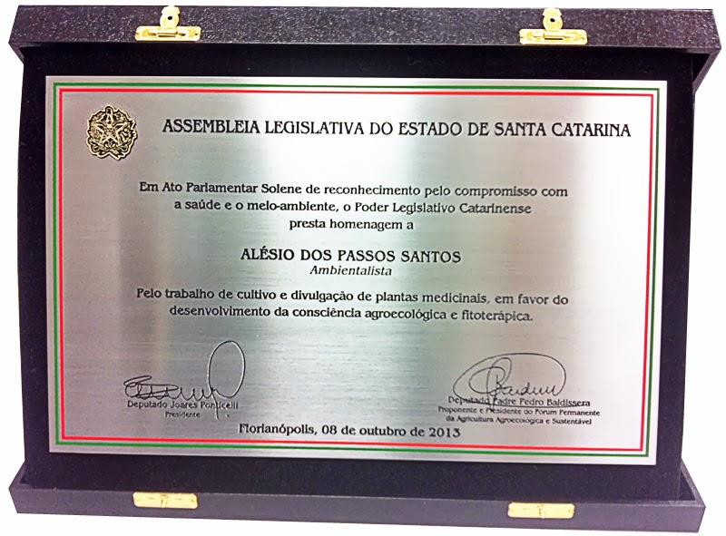 Homenagem da Assembléia Legislativa do Estado de Santa Catarina